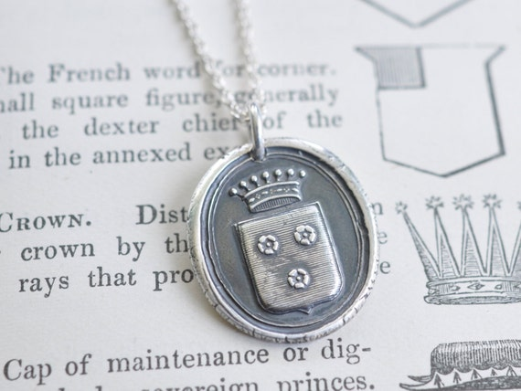 rose crest wax seal necklace pendant - belonging to a French Count - fine silver antique armorial wax seal jewelry