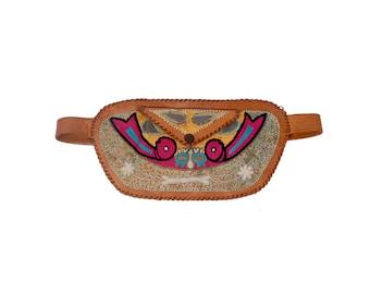 Vintage India Bag - 60s India Leather Bag - Fanny Pack - Leather Fanny Pack - 60s India Belt - 60s Boho Belt - Leather Embroidered Belt