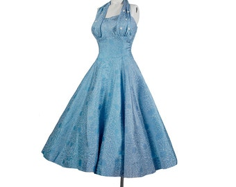 Vintage 50s Dress - 50s Halter Dress - 50s Party Dress - 50s Full Skirt Dress - 50s Strapless Dress - Blue Silver - Novelty Print Dress XS
