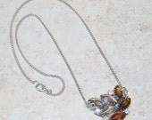 Vintage Rhinestone Pendant Silver Chain Necklace, Brown & Smokey Gray Rhinestone Necklace,Silver Chain Pendant Nceklace