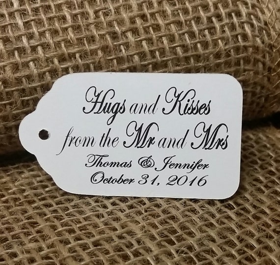 Hugs and Kisses from the Mr and Mrs Script Personalized Wedding Favor MEDIUM tag choose your amount