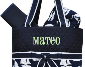 Personalized Diaper Bag Navy Blue Saiboats Quilted Monogrammed Nautical Baby Tote
