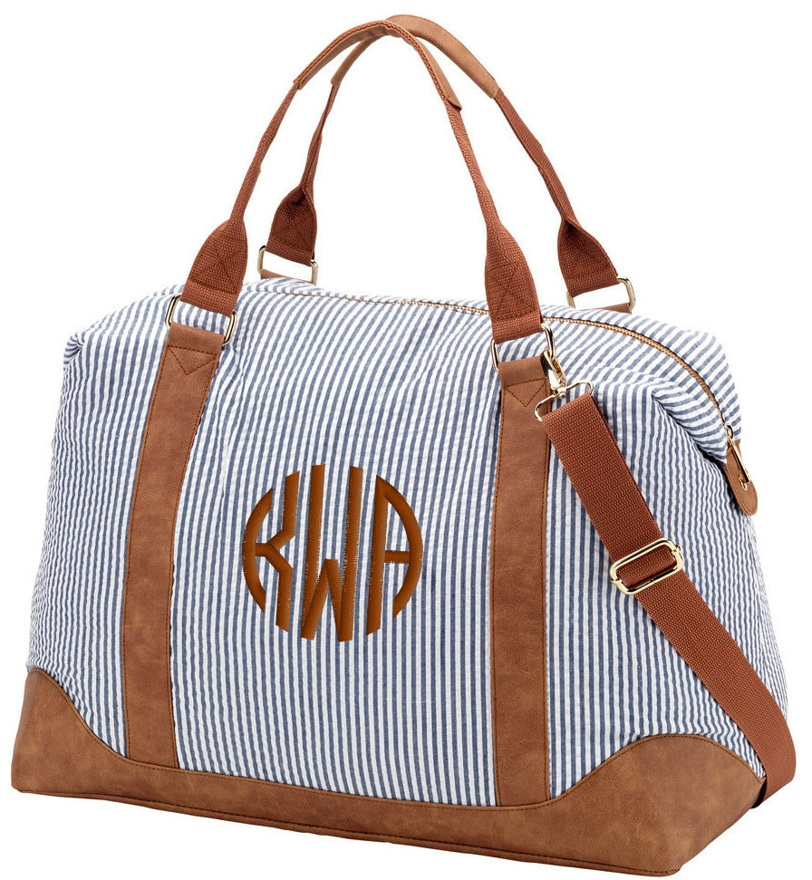 Monogrammed navy seersucker duffle bag weekender overnight