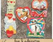 Love and Admiration oo3 | Vintage Travel Valentine Cards | Printable Collage Sheet