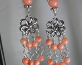 Coral Earrings ~ Petite Coral & Sterling Silver Chandelier Earrings ~ Silver Earrings