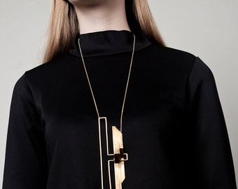 Lila Necklace, Architectural Necklace, Gold Statement Necklace, Geometric Statement Necklace, Geometric Gold Necklace, Minimalist Necklace
