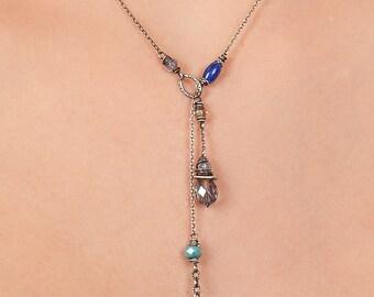 Dark Blue Sterling Silver Lariat, Elegant Boho Jewelry