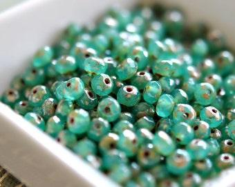 Peek-A-Boo - Czech Glass Beads, Milky Opal Emerald, Picasso, Firepolish, Facet Rondelle 5x3mm - Pc 25