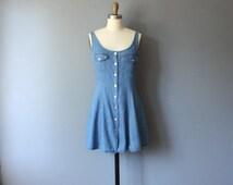vintage denim mini dress / button up dress / 1990s grunge dress / aline dress