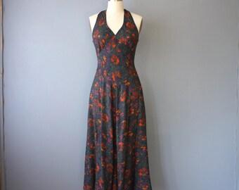 vintage maxi dress / floral halter dress / festival dress / M