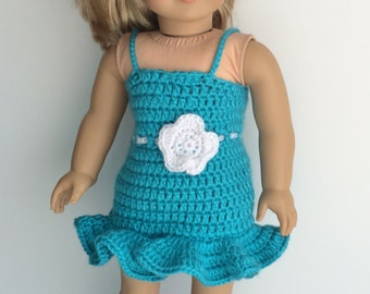 Doll Spring Dress, Handmade Crochet Doll Clothes, Doll Easter Dress, Doll Spring Outfit with Flowers, Blue Dress For 18 inch Doll