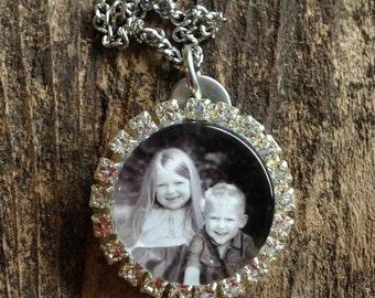 "1.25""  Glass & Rhinestone Photo Necklace"