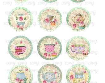 Pastries and Tea  -  2 inch circles  -  Printable Digital Collage Sheet - Digital Download