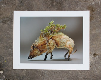 Trail of the Forgotten and Underestimated (Celtic Boar) - Original Giclee Limited Edition Print - 8.5x11""