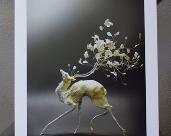 A Most Precarious Spring (Petal Deer) - Original Giclee Limited Edition Print - 8.5x11""