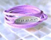 Never Give Up Bracelet, Inspiration Bracelet, Hand Stamped Jewelry, Wrap Bracelet, Motivational Bracelet, Hand Stamped Bracelet, BFF Gift