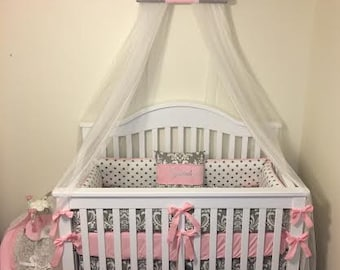 PERSONALIZED Crown Crib Teester Bedroom Canopy Gray Pink Girls Princess Embroidered FrEe Cornice Tiara custom design So Zoey Boutique SALE