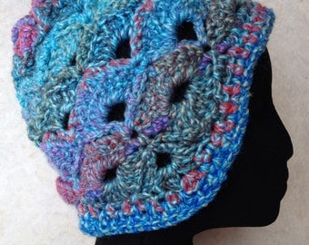 Ear flap hat beanie adult size blue