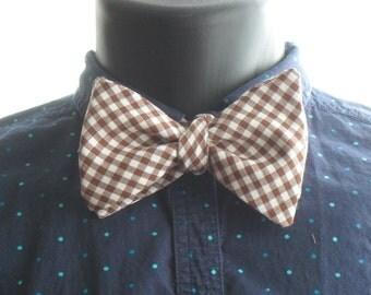 Brown Gingham Self-Tie Bow Tie