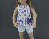 Purple flowers shorts set with headband for Dianna Effner Little Darlings dolls by Matilda Pink