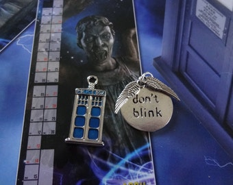 Doctor Who Inspired - Charms/Pendants - T.A.R.D.I.S./Police Box, Don't Blink Disk With Weeping Angels Wings