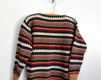 Vintage 1960s Bright Striped Nordic Sweater Wool Alice Kaye Originals