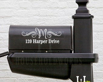 """Mailbox Mongram Vinyl Decal 13"""" long X 5"""" tall custom new home owner gifts, newly weds present, realtor gifts, street address sign stickers"""