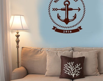 Beach Wedding Decorations Anchor Monogram Bride and Groom Name Vinyl Wall Decal Stickers Corn hole Board lawn game board Stickers Custom