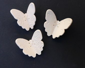 3 Porcelain ceramic sculptures 3D butterfly wall art Vintage lace texture Sterling silver Wall decor UK shop Bathroom decor bedroom wall art