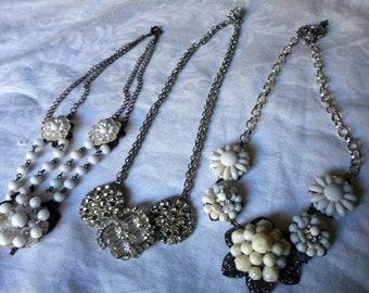 Lot of 3 VINTAGE Earring Altered Costume Jewelry Necklaces