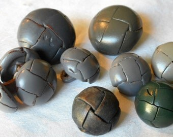 Lot of 10 VINTAGE Gray & 1 Green Leather Weave BUTTONS