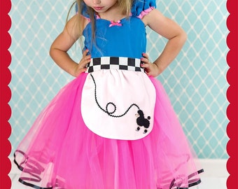 Poodle skirt costume dress, 1950s dress, Sock hop, pink rockabilly Halloween costume, retro party dress, toddler girl costume, Lover Dovers