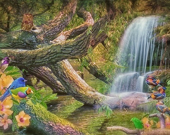 Digital exotic bird and waterfall background for your scrapbooking or digital photo projects