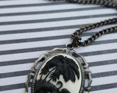 READY TO SHIP - Black Flamingos Cameo Necklace, Palm Tree Flamingo, Black White Gunmetal Necklace - Bella Mia Beads