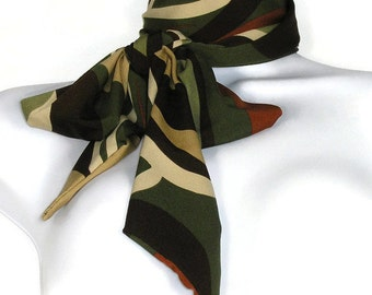 Retro Scarves Mod Scarves 70's Long Skinny Scarves Retro Scarf Skinny Scarf Brown Camel Olive Green Fashion Scarves Long Scarves for Women