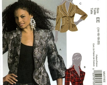 McCall's M5477 Hip Length Shawl Collar Jacket Top Size 14 16 18 20 Uncut Sewing Pattern 2007