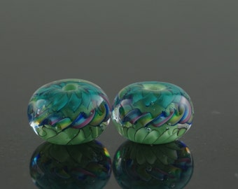 Pair teal and green earring beads.