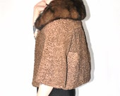 1950s persian lamb stole coat vintage 50s HUDSONS BAY fur trim brown cropped curly lamb capelet