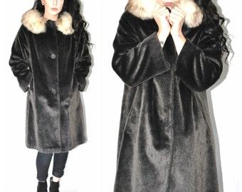 1960s vintage SWING coat IRIDESCENT grey + white FUR collar long boho mid century winter coat os