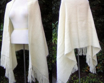 Handwoven Irish Wool Shawl Long Fringe Vintage 60s Ivory with some Mohair content - Fine Quality Lightweight Warmth New Old Stock