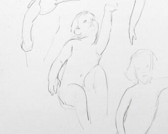 pencil drawing original / babies drawing / portrait drawing