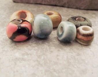 Handmade ceramic beads Tan beads Large hole Light shino glaze Porcelain clay beads Disc beads for jewelry