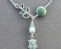 Midnight In The Garden Owl Necklace With Leaf Branch Labradorite & Iron Pyrite Gemstone Silver Necklace