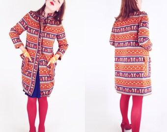 60s Lilli Ann Knit Orange and Blue Poly Jacquard Coat S