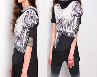 Dream catcher - asymmetrical layered top / short sleeved hoodie / American Indian feather necklace top (Y1758D)
