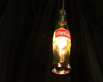 Coca-Cola Bottle Pendant Lamp with Shiny Copper Trim