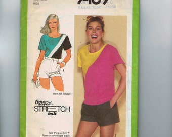 1980s Vintage Sewing Pattern Simplicity 9469 Misses Stretch Knit Colorblock Shirt Top Tee Size 10 12 14 1980 80s  99
