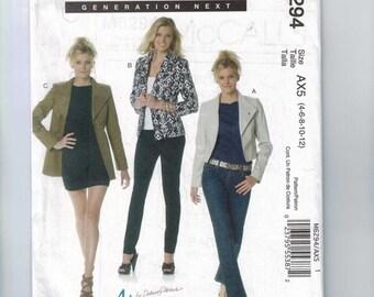 Misses Sewing Pattern McCalls M6294 6294 Misses Lined Jacket Cropped Blazer Size 4 6 8 10 12 UNCUT