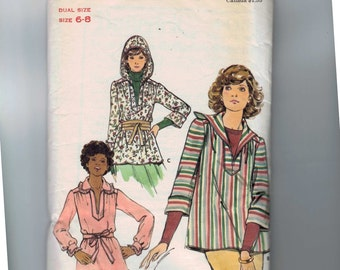 1970s Vintage Sewing Pattern Butterick 4445 Misses Pullover Top Hooded Smock Size 6 8 Bust 30 31 32 1970s 70s