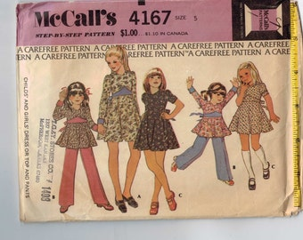 1970s Vintage Girls Sewing Pattern McCalls 4167 Girls Dress or Top and Pants Size 5 Breast 24 Waist 21 1/2 1974 70s  99